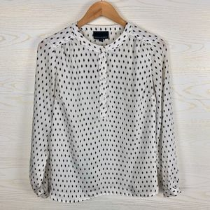 Cynthia Rowley Black & White Dotted Silky Top